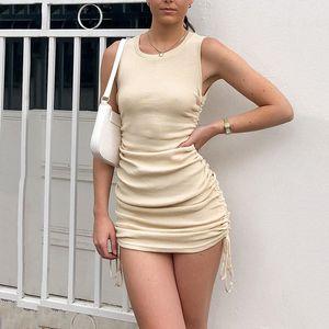 SALSPOR Women Folds Dresses O-Neck Sleeveless Drawstring Pleated Dress Female Casual Party Mini Dress Sexy Feminine