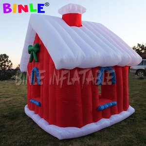 3x3x3M blow up Inflatable Christmas House With Chimney Xmax inflatable santa grotto tent for Outdoor Decoration