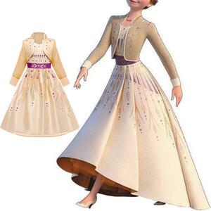2019 Ice Anna Elsa 2 ragazze vestono principessa Costume Fancy Snow Queen 2 bambini Abbigliamento Kids Party Cosplay Elza Vestiti 4 6 10T T200709