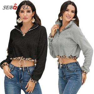 SEBOWEL 2020 Outono Inverno manga comprida Cordeiro Wool Zipper curto camisola Feminino flanela Leopard costura capuz tops de culturas