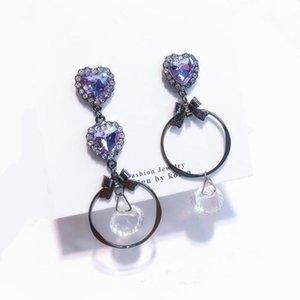 Love Heart Purple Crystal Big Circle Asymmetry Long Tassel Rhinestone Drop Earrings for Women Girl