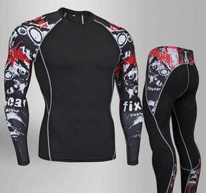 2019 hommes chemise de fitness MMA hommes rash guard t-shirt crâne impression de musculation compression mouvement manches longues hommes 3D T-shirt haut T200413