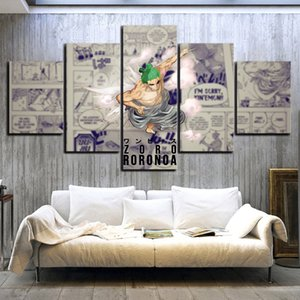 Modular Pictures Prints 5 Pcs Anime ONE PIECE Roronoa Zoro Wano Country Poster Canvas Painting Wall Art Home Decoration Frame