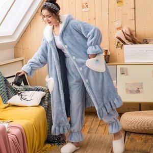 Herbst-Winter-Frauen-Bademantel Set Sweet Love Plüsch mit Kapuze verdickte weicher Bademantel weiblich Startseite Tragen Warm-Kleides Dressing