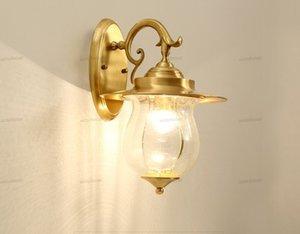 luzes de parede Estilo Europeu de parede exterior Luz Corredor Lamp Desk Lamp Waterproof e inoxidáveis Villa cobre moderna levou