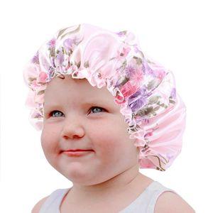 Vendita calda di seta molle Wide Band Notte Cappelli per capelli naturali Teens Bebè Bambino bambino ricopre a pelo raso Bambini Bonnet sveglio all'ingrosso