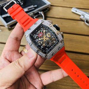 New RM011-FM barato Big Data Skeleton Dial Japão Miyota automático RM 011 Mens Watch pulseira de borracha Caso Diamond Silver Designer Relógio de desporto