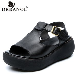 DRKANOL 2020 Sandales Femme Chaussures d'été à bout ouvert Gladiator sandales pour femmes Wedges plate-forme rétro véritable cuir de vache