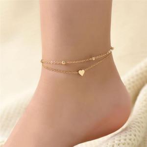 New Women Girl Bracelet Anklet Vintage Silver Gold Color Multi Layer Chain Anklets Boho Summer Barefoot Anklet Jewelry