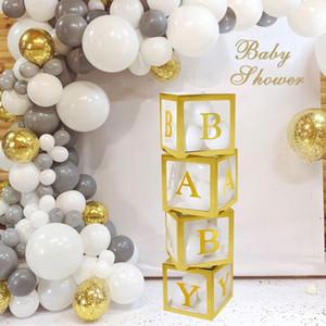 Золото Прозрачное Имя Box Письмо шары С Днем Рождения украшения партии Дети балон Первый 1-й день рождения Balony Baby Shower Decor