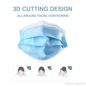 Não tecido azul descartável Máscara de 3 camadas e filtro Máscara de algodão face máscara protetora Anti PM2.5 Adulto respirável Poeira Facial Navio com 48hrs