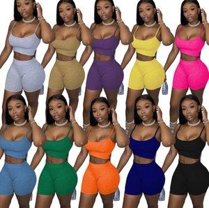 libre de 10 colores de verano para mujer de la ropa de 2 pedazos atractivos del chándal de las mujeres s casuales color sólido tirantes tapas de juego de los cortocircuitos más el tamaño S-XL