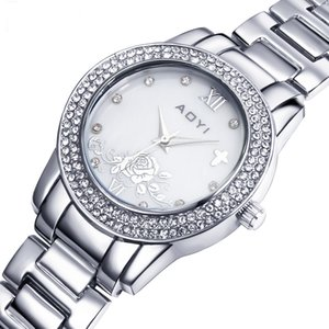 Big Discount Large Watch for women White and Gold Trendy Flower dial Crystal Metal Watches