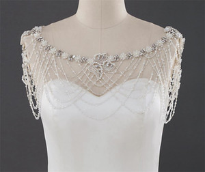Wedding Bridal Shawl Jacket Bolero Wrap Crystal Rhinestone Pearls Lace Shoulder Wrap Full Body Chain Jewelry Bridal Beading Lace Jewelry