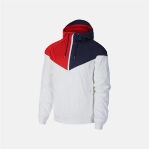 Mens Designer Sport Marque équipe Vestes coupe-vent Manteaux Blanc Rouge Bleu lambrissé Zipper Hoodies Marque Courir Vestes Qualité BQ1 2041605V