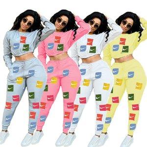 Las mujeres más del tamaño caen invierno chándal chándal diseñador de la marca Top de manga larga con capucha de cultivos + pantalones de dos piezas de la ropa informal de color gris 3498