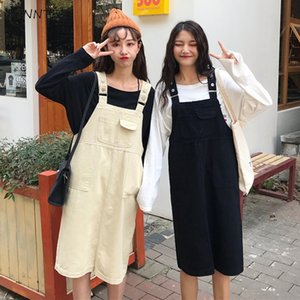 Dress Women New Sleeveless Korean Style Loose Solid Elegant Womens High Quality Pockets Denim Female Straight Leisure Clothing