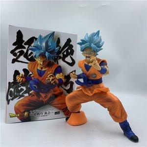 Dragon Ball Z Super Goku Dark Blue Skill Fighting Ver. PVC Action Figure DBZ Goku Super Saiyan Position Collect Model 20cm