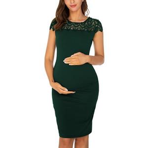 2020 إمرأة الأمومة أنيقة الأزهار الدانتيل تراكب نصف كم vestidos الأطراف الحوامل فساتين الأمومة للصور اطلاق النار اللباس