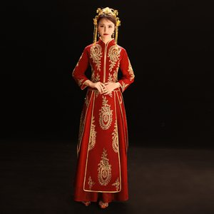 Chinesische Stickerei-Rot-Antike Brautkleid Cheongsam Frauen Overseas Chinese Style Bride Stickerei Cheongsam
