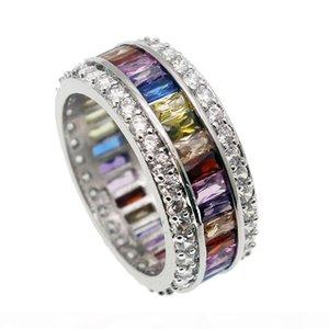 Ehering 925 Sterlingsilber-Kristall natürliche Edelstein Granat Amethyst Peridot Morganite Frauen Fashion Jewelry Geschenk