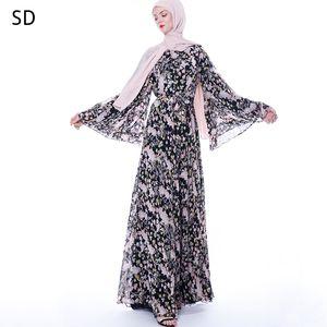 Floral Muslim Dress Abayas For Women Turkey Caftan Marocain Kaftan Islamic Clothing Tesettur Elbise Djelaba Femme