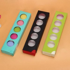 Europe Type Candy COlor Window Macaron Boxes Snack Christmas Cake Package Boxes 5pcs Macarons Free Shipping ZA4209