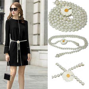 Belts Luxur Brand 2021 Trend Women's Small Daisy Pearl Waist Chain Ladies Fashion Wild Decoration Glass Bead Bg-1576