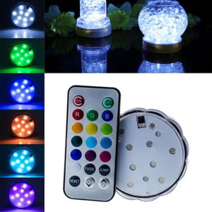 LED Lights for Party, 10 LED Submersible Lights for Wedding Hookah Shisha Bong Decor, Remote Control Tealight Candle light Waterproof RGB