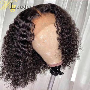 Frontal pelucas Wigleader Short Cut humana Blunt pelo Bob Corte Preplucked cordón de Remy del pelo de la peluca 14-16inches cordón suizo
