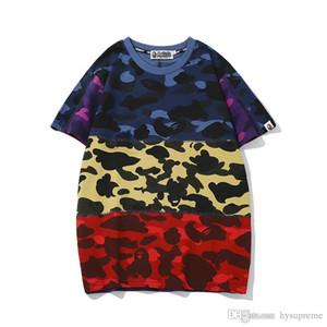 New Tide Marke Liebhaber Camouflagedruck Farbabstimmung T-Shirt Männer Sport-Rundhalsausschnitt losen Kurzarm T-Shirts Größen M-2XL
