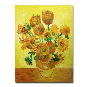 Verniciato Art Van Gogh girasoli pittura a olio a mano su tela di canapa di arte della parete per Dipinti Living Room Decor Van Gogh