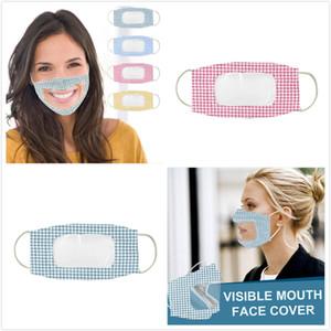 Máscara visível face cobrir a boca Anti Poeira reutilizável lavável cara com adultos PVC transparente Janela surdo-mudo Lip máscaras Transparente