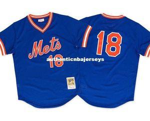 Ucuz Mitchell Ness New York # 18 Darryl Çilek 1986 Mesh Jersey Throwbacks Erkek beyzbol formaları dikişli