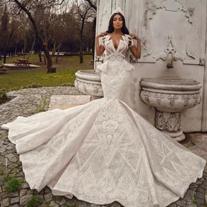 2020 Plus Size Arabic Aso Ebi Luxurious Beaded Lace Wedding Dresses Mermaid Sheer Neck Bridal Dresses Vintage Wedding Gowns ZJ034