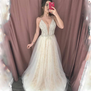 Spaghetti Strips Wedding Dresses Beaded Sexy Deep V-neck A-line Dress Bridal Gowns Party Formal Plus Size Robe De Mariee