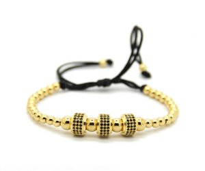 SH190925 gioielli Ailatu rame di modo borda il tessuto tre micro della CZ Cilindri fascino Balls intrecciatura Macrame il braccialetto