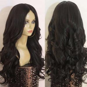 European and American women wigs in a medium long curly natural black realistic human hair synthetic false set false long straight hair