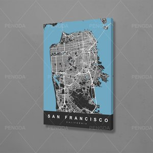 Poster Modern Duvar Sanatı Resimleri İçin Salon çerçeveli bir resim San Francisco City Devre Harita Modüler Tuval Ev Dekorasyonu Baskılar