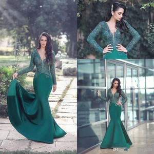 New Sexy Emerald Green Prom Dresses V Neck Long Sleeves Illusion Mermaid Lace Appliques Beaded Satin Evening Dress Cheap Party Gowns
