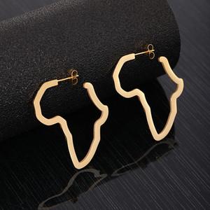 Star Hoop Earrings Stainless Steel Large African Map Triangle Geometric Gold Silver Hoop Earrings For Women Girls