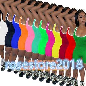 Yoga Pants Verão Mulheres Jumpsuit macacãozinho Bodycon Moda Academia Pajama Designer Onesies mangas de Slim Casual Playsuit Macacões 10 cores