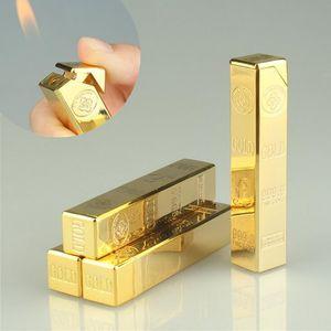 골드 벽돌 모양의 최신 가스 부탄 금괴 라이터 긴 줄 화염 금속 담배 시가 라이터 주방 도구 액세서리 흡연