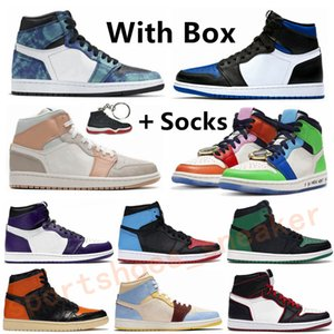 Supremo Tribunal roxo real Toe verde pinheiro 1s Shoes Mens Mulheres Basketball Tie-Dye Obsidian 1 UNC Bloodline torção Smoke Sapato cinzento Sports