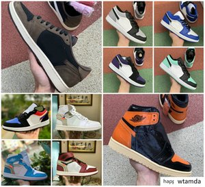 DEsigneR 2020 SHatteReD BackBoArD 3.0 SHOES TRavis SCotts X 1 HigH OG Mid Men Royal Banned BreD Black White 1s FRagment UNC Fearless Sneaker