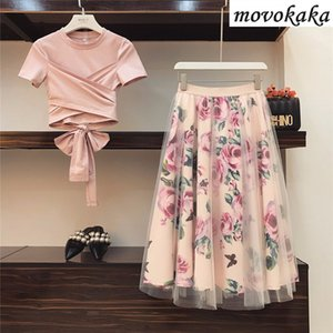Imposta Set estate delle donne maglietta MOVOKAKA 2020 Moda insieme a due pezzi Donne Top e gonna Plus Size 2 pezzi + delle donne della maglia gonne sexy