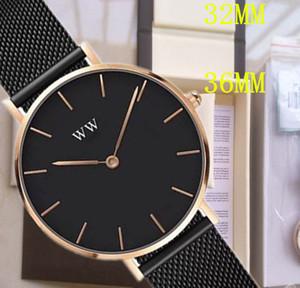 2020 En moda Daniel kadın 32MM 36mm erkekler Aşıklar kadınlar çelik hasır altın erkek saatler dw Wellington moda femme Relojes Montre