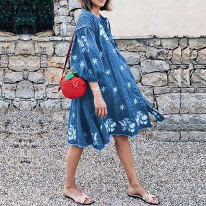 VONDA Women Summer Bohemian Dress Vintage Printed Midi Dresses Half Sleeve Irregular Vestidos Beach Sundress Plus Size Robe