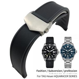 20mm 22mm Kauçuk Silikon Watch Band Su geçirmez Bilezikler Siyah Mavi Kayış TAG Heuer Aquaracer 300 WAY201B CALIBRE 5 Aksesuarlar Araçları