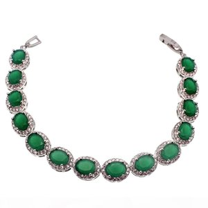 925 Sterling Silver Natural Green Emerald Origin Stone теннис Ссылка Браслеты Искорка кубический цирконий Красивые подарки помолвка
